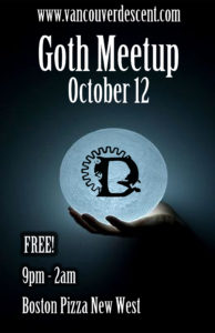 October Goth Meetup on Oct 12, 2017 @ Boston Pizza New Westminster